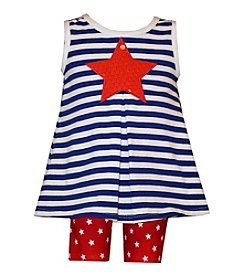 Bonnie Jean® Baby Girls' Star Printed And Striped Tunic And Shorts Set