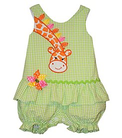 Bonnie Jean® Baby Girls' Giraffe Applique Seersucker Romper