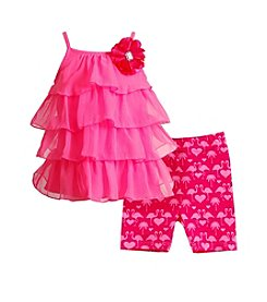 Sweet Heart Rose® Baby Girls' Tiered Tank And Flamingo Printed Shorts Set