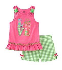 Kids Headquarters® Baby Girls' 12-24 Month Love Applique Tank And Seersucker Shorts Set