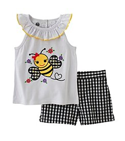 Kids Headquarters® Baby Girls' 12-24 Month Bumble Bee Printed Tank And Shorts Set