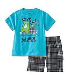 Calvin Klein Baby Boys' 12-24 Month Tow Truck Printed Tee And Plaid Shorts Set