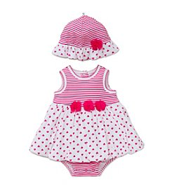 Little Me® Baby Girls' Heart Printed Popover And Hat Set