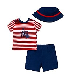 Little Me® Baby Boys 3-Piece Stars And Stripes Shorts Set