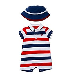 Little Me® Baby Boys U.S.A. Striped Romper And Hat Set