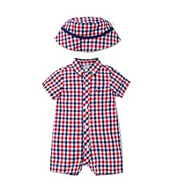 Little Me® Baby Boys Plaid Romper And Hat Set
