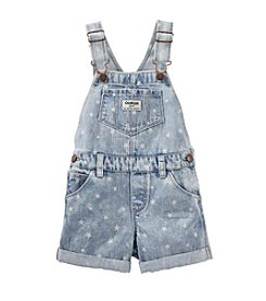 OshKosh B'Gosh® Baby Girls' Star Printed Cuffed Denim Shortalls