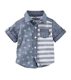 OshKosh B'Gosh® Baby Boys' Month Chambray Stars And Stripes Printed Button Down Shirt