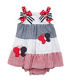 Rare Editions® Baby Girls' Butterfly Applique Seersucker Dress