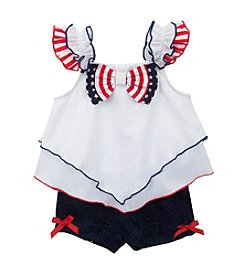 Rare Editions® Baby Girls' Patriotic Flutter Sleeve Top And Shorts Set
