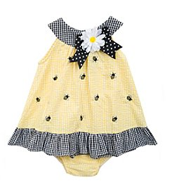 Rare Editions® Baby Girls' Bumble Bee Applique Dress and Panty Set