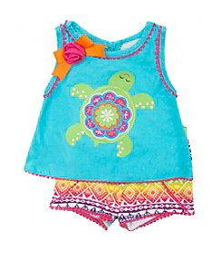 Rare Editions® Baby Girls' Turtle Applique Tank and Printed Shorts Set