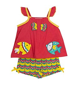 Rare Editions® Baby Girls' Flutter Sleeve Fish Applique Top and Printed Shorts Set