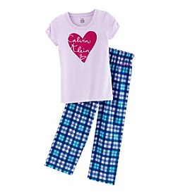 Calvin Klein Girls' 5-16 Logo In Heart Tee And Pants Pajama Set