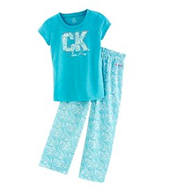 Calvin Klein Girls' 5-16 Logo Tee And Printed Pants Pajama Set
