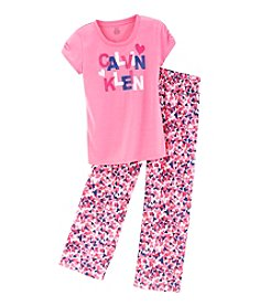 Calvin Klein Girls' 5-16 Hearts & Logo Tee And Pants Pajama Set
