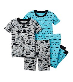 Carter's® Boys' 12M-12  4-Piece Mustache Sleepwear Set