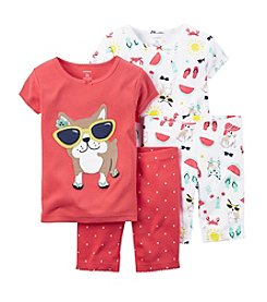 Carter's® Girls' 12 Months-12 4-Piece Dog Printed Pajama Set