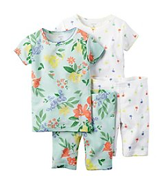 Carter's® Girls' 12M-12 4-Piece Tropical Printed Pajama Set