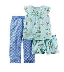 Carter's® Girls' 3-Piece Sailboat Printed Pajama Set