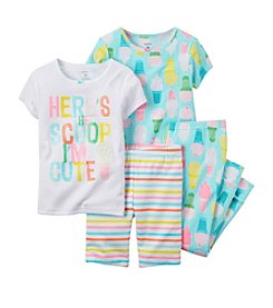 Carter's® Girls' 12 Months-12 4-Piece Here's The Scoop Printed Pajama Set