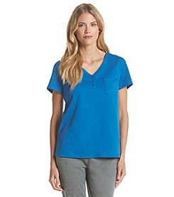 KN Karen Neuburger Short Sleeve Henley Pajama Top