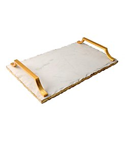Thirstystone® Marble Serving Tray With Art Deco Gold Finish Handles
