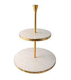Thirstystone® Gold And Marble 2-Tier Dessert Stand