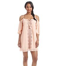 Sequin Hearts® Embroidered Cold Shoulder Dress