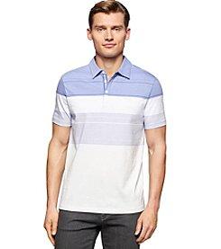 Calvin Klein Men's Liquid Cotton Engineered Stripe Short Sleeve Polo