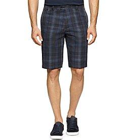 Calvin Klein Men's Multi-Dimension Plaid Slub Shorts