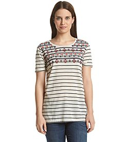 Bobeau® Striped And Embroidered Tee