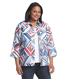 Alfred Dunner® Plus Size All Aboard Burnout Boxes Layered Look Top