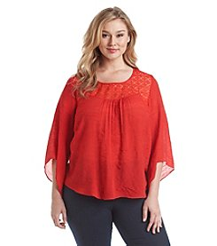 AGB® Plus Size Lace Trim Gauze Peasant Top