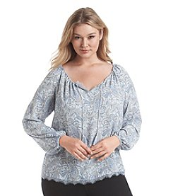 Ruff Hewn GREY Plus Size Long Sleeve Printed Peasant Top