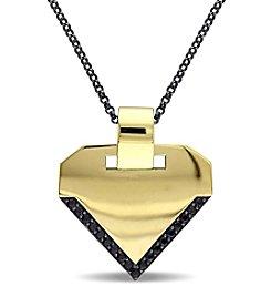 V1969 ITALIA Men's Black Sapphire Insignia Necklace