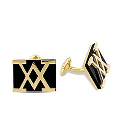 Versace 19.69 Abbigliamento Sportivo SRL Black Onyx Cufflinks in 18k Yellow Gold Plated Sterling Silver