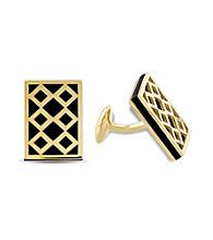 Versace 1969 Abbigliamento Sportivo SRL Black Onyx Cufflinks in 18k Yellow Gold Plated Sterling Silver