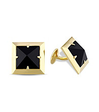 Versace 19.69 Abbigliamento Sportivo SRL Black Onyx Pyramid Cufflinks in 18k Yellow Gold Plated Sterling Silver