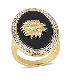 V1969 Italia Abbigliamento Sportivo SRL Black Agate and White Sapphire Logo Sunflower Ring