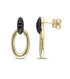 V1969 ITALIA Black Sapphire Drop Hoop Earrings