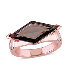 V1969 Italia Sportivo SRL Smokey Quartz and White Sapphire Prism Ring