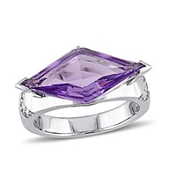 Versace 19.69 Abbigliamento Sportivo SRL Amethyst and White Sapphire Prism Ring in Sterling Silver