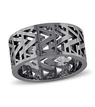 Versace 19.69 Abbigliamento Sportivo SRL Men's Openwork Ring in Black Rhodium Plated Sterling Silver