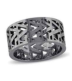 Versace 19.69 Abbigliamento Sportivo SRL Men's Openwork Ring in Black Rhodium Plated Sterling Silver
