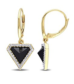 V1969 ITALIA Black Agate and White Sapphire Drop Earrings