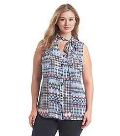 Relativity® Plus Size Printed Bow Blouse