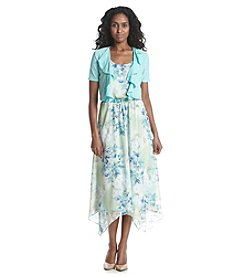 R&M Richards® Asymmetrical Chiffon Floral Jacket Dress