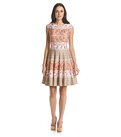 Julian Taylor Striped Floral Patterned Scuba Dress