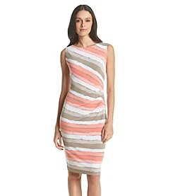 Connected® Side Ruched Striped Dress